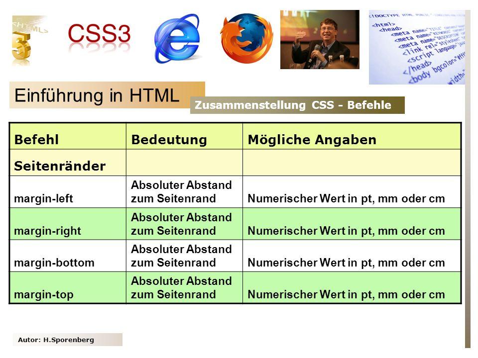 Autor: H.Sporenberg Einführung in HTML Zusammenstellung CSS - Befehle BefehlBedeutungMögliche Angaben Seitenränder margin-left Absoluter Abstand zum S