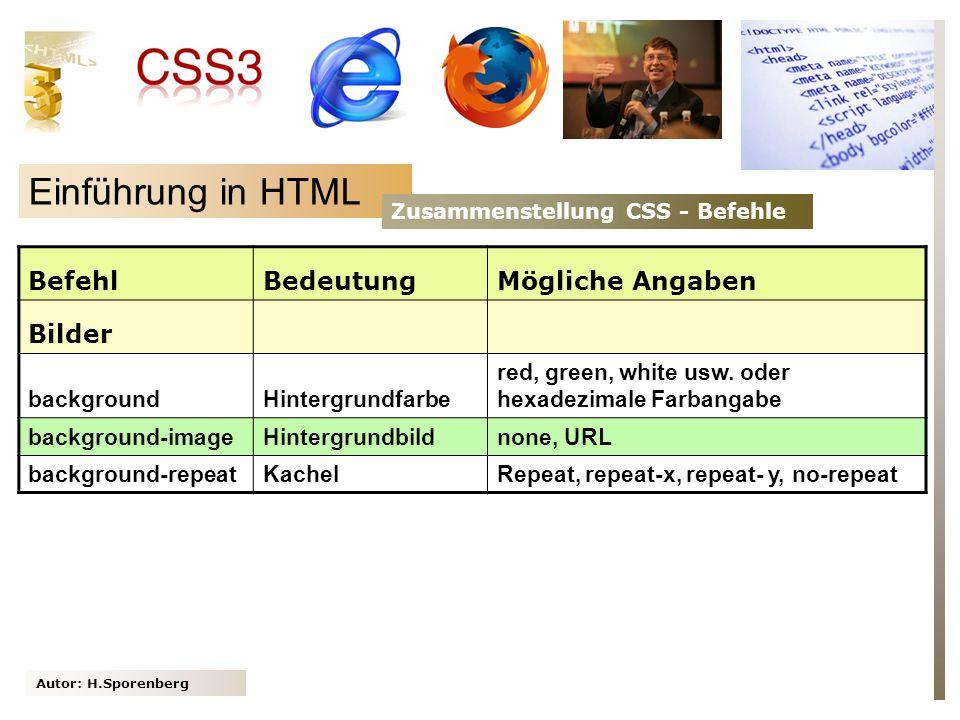 Autor: H.Sporenberg Einführung in HTML Zusammenstellung CSS - Befehle BefehlBedeutungMögliche Angaben Bilder backgroundHintergrundfarbe red, green, wh