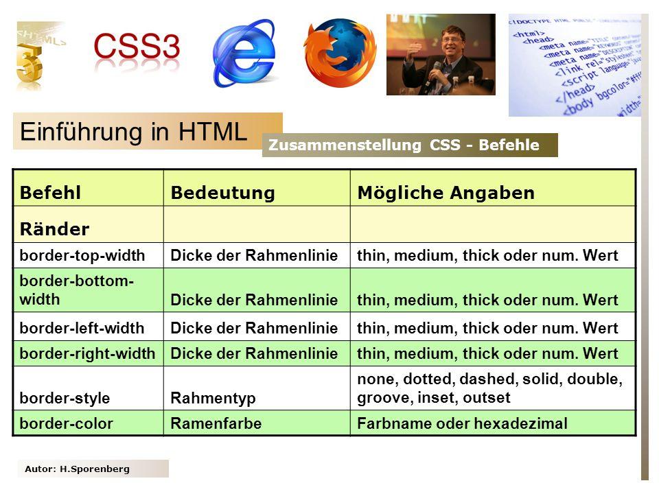 Autor: H.Sporenberg Einführung in HTML Zusammenstellung CSS - Befehle BefehlBedeutungMögliche Angaben Ränder border-top-widthDicke der Rahmenliniethin, medium, thick oder num.