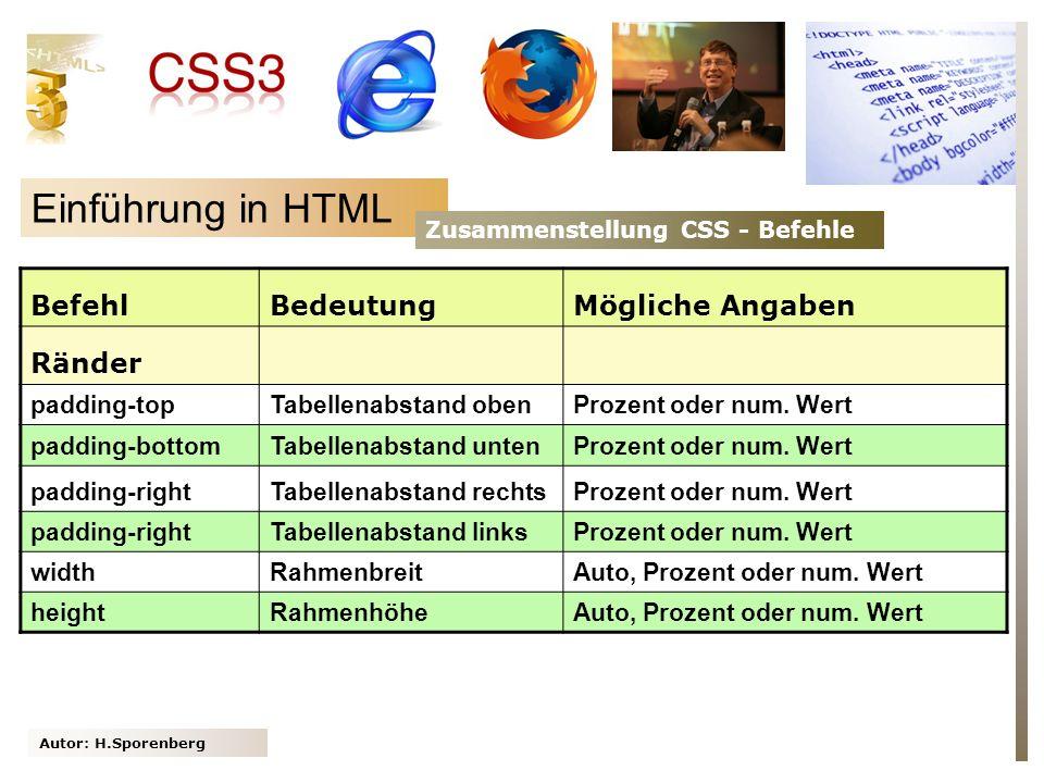 Autor: H.Sporenberg Einführung in HTML Zusammenstellung CSS - Befehle BefehlBedeutungMögliche Angaben Ränder padding-topTabellenabstand obenProzent oder num.