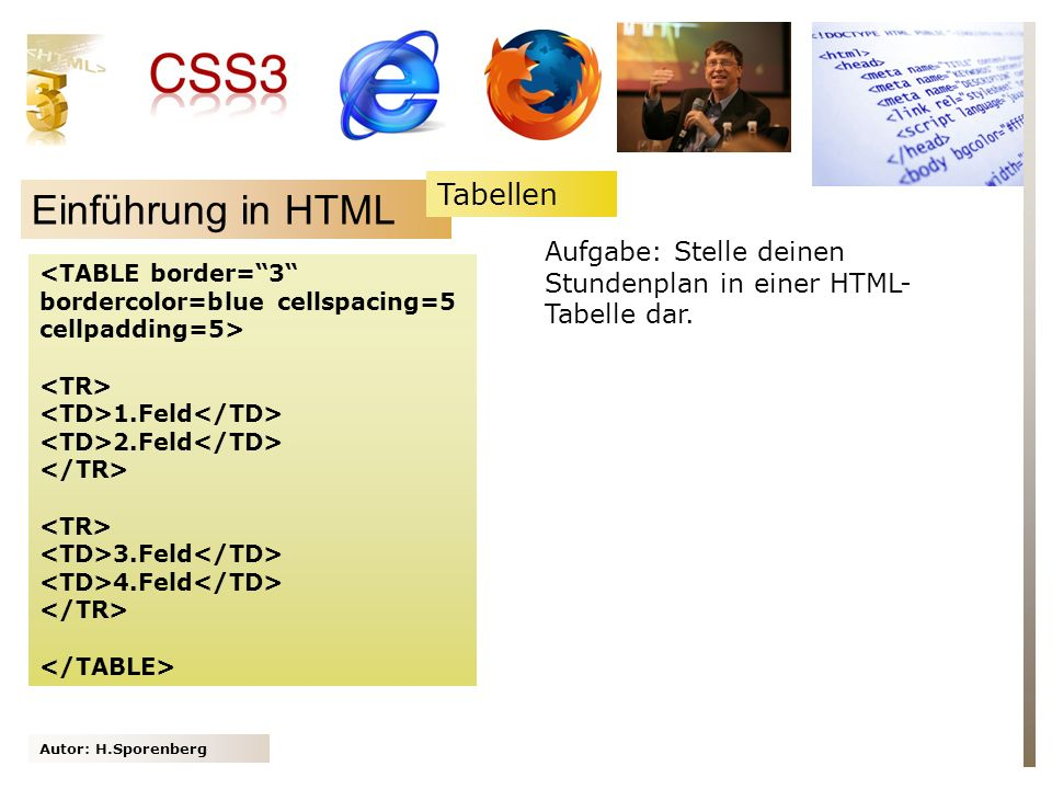 Autor: H.Sporenberg Einführung in HTML 1.Feld 2.Feld 3.Feld 4.Feld Aufgabe: Stelle deinen Stundenplan in einer HTML- Tabelle dar.