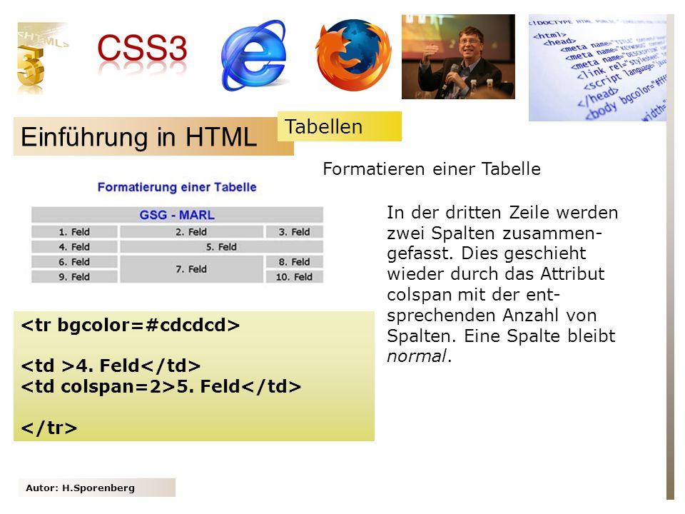 Autor: H.Sporenberg Einführung in HTML 4. Feld 5. Feld In der dritten Zeile werden zwei Spalten zusammen- gefasst. Dies geschieht wieder durch das Att