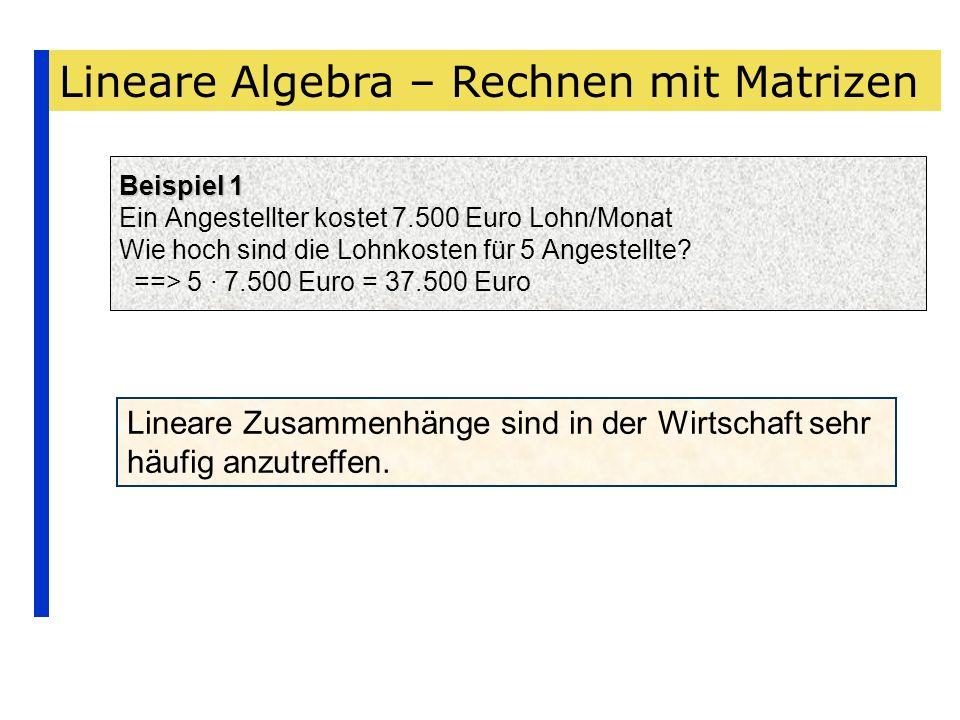 Lineare Algebra – Rechnen mit Matrizen Beispiel 1 Beispiel 1 Ein Angestellter kostet 7.500 Euro Lohn/Monat Wie hoch sind die Lohnkosten für 5 Angestel