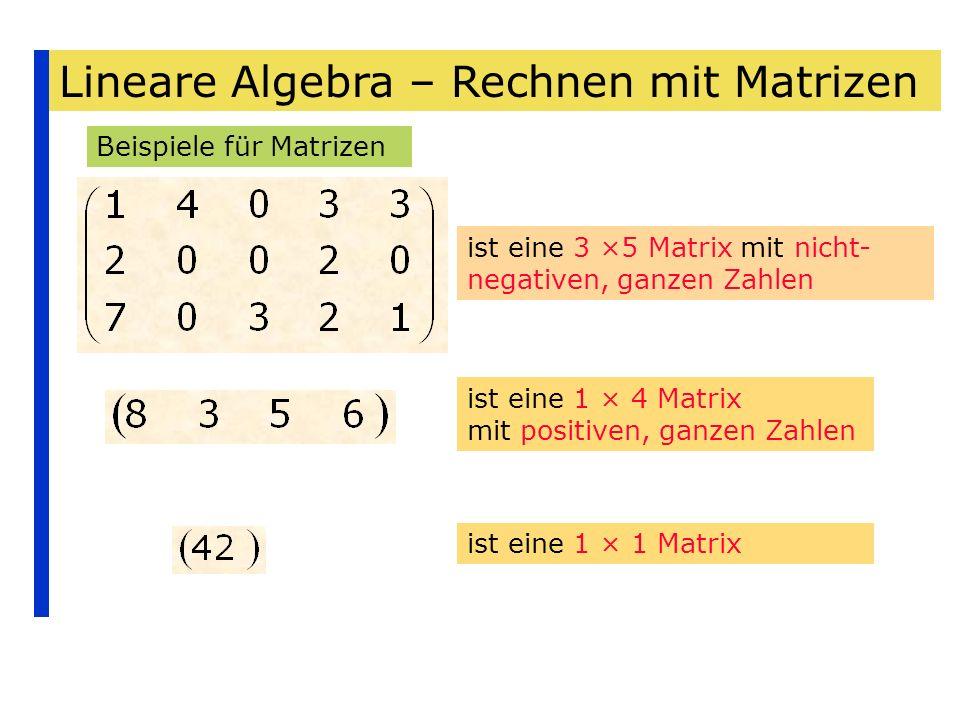 Lineare Algebra – Rechnen mit Matrizen Beispiele für Matrizen ist eine 3 ×5 Matrix mit nicht- negativen, ganzen Zahlen ist eine 1 × 4 Matrix mit posit
