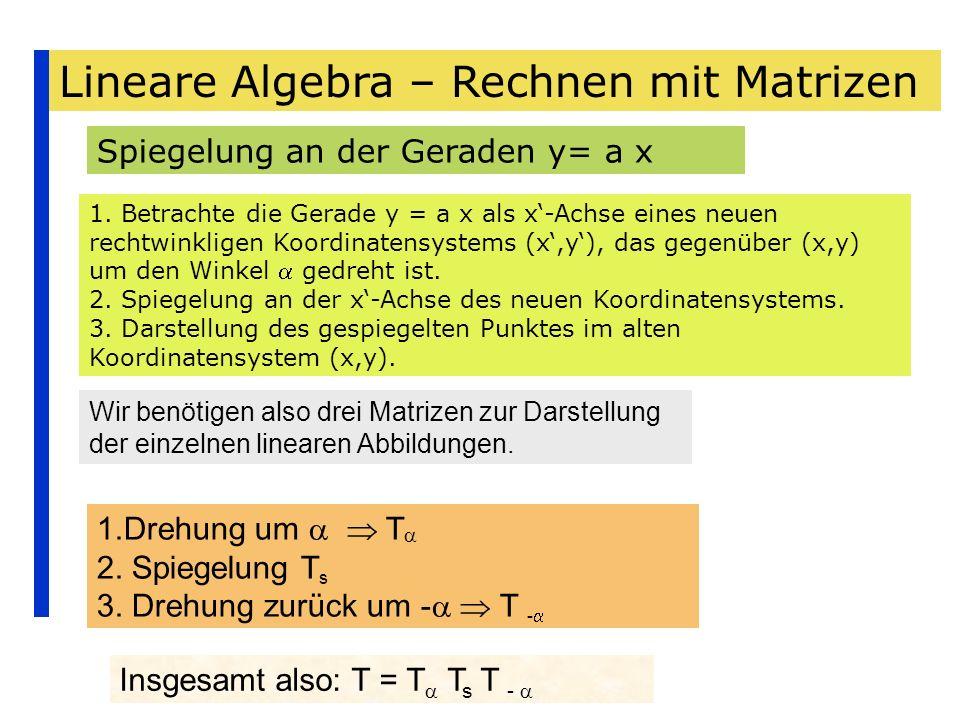 Lineare Algebra – Rechnen mit Matrizen Spiegelung an der Geraden y= a x 1. Betrachte die Gerade y = a x als x-Achse eines neuen rechtwinkligen Koordin