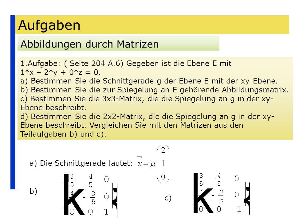 Aufgaben Abbildungen durch Matrizen 1.Aufgabe: ( Seite 204 A.6) Gegeben ist die Ebene E mit 1*x – 2*y + 0*z = 0. a) Bestimmen Sie die Schnittgerade g