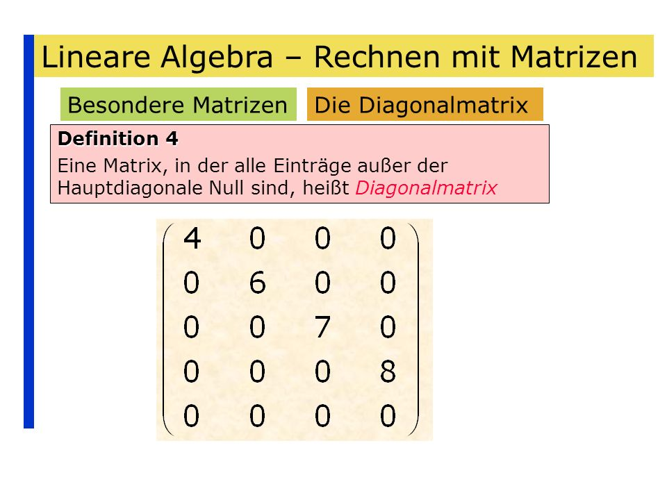 Lineare Algebra – Rechnen mit Matrizen Besondere Matrizen Definition 4 Eine Matrix, in der alle Einträge außer der Hauptdiagonale Null sind, heißt Dia