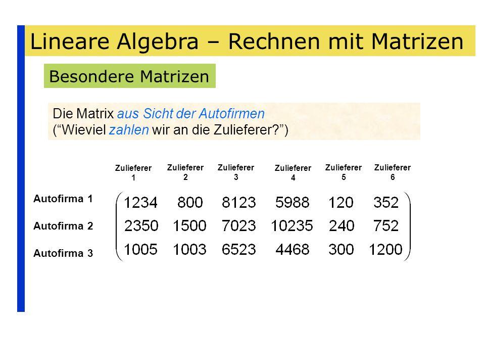 Lineare Algebra – Rechnen mit Matrizen Besondere Matrizen Die Matrix aus Sicht der Autofirmen (Wieviel zahlen wir an die Zulieferer?) Autofirma 1 Auto