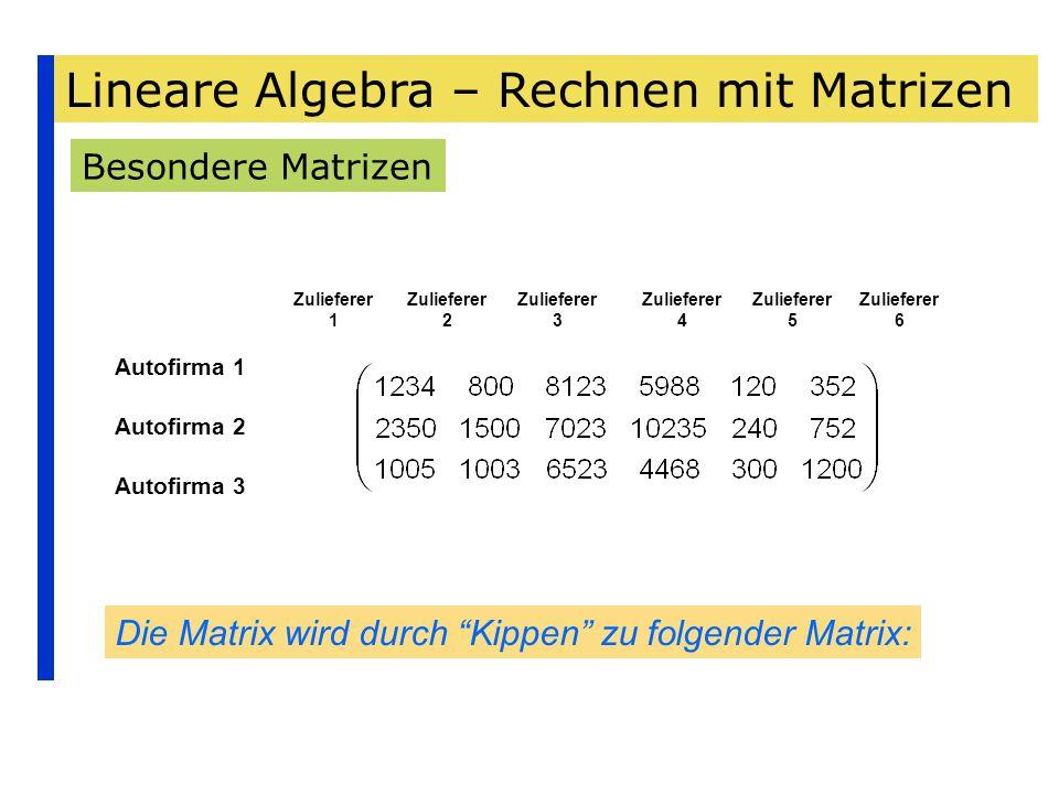 Lineare Algebra – Rechnen mit Matrizen Besondere Matrizen Autofirma 1 Autofirma 2 Autofirma 3 Zulieferer 1 Zulieferer 2 Zulieferer 3 Zulieferer 4 Zuli