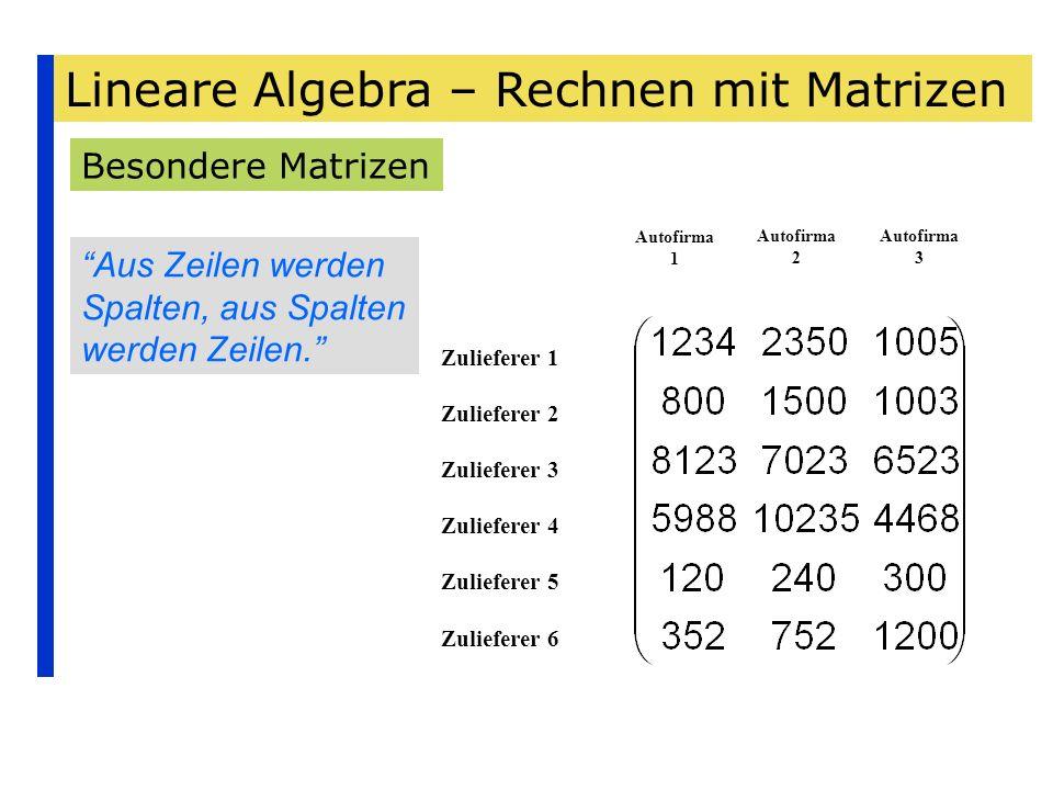Lineare Algebra – Rechnen mit Matrizen Besondere Matrizen Zulieferer 1 Zulieferer 2 Zulieferer 3 Zulieferer 4 Zulieferer 5 Zulieferer 6 Autofirma 1 Au