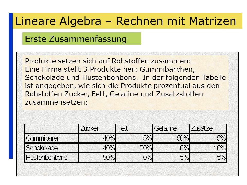 Lineare Algebra – Rechnen mit Matrizen Erste Zusammenfassung Produkte setzen sich auf Rohstoffen zusammen: Eine Firma stellt 3 Produkte her: Gummibärc