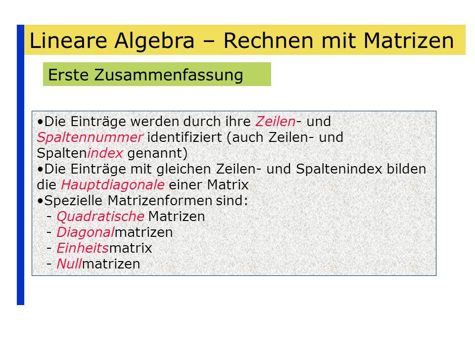 Lineare Algebra – Rechnen mit Matrizen Erste Zusammenfassung Die Einträge werden durch ihre Zeilen- und Spaltennummer identifiziert (auch Zeilen- und