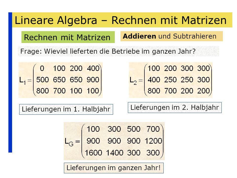 Lineare Algebra – Rechnen mit Matrizen Rechnen mit Matrizen Frage: Wieviel lieferten die Betriebe im ganzen Jahr? Addieren und Subtrahieren Lieferunge