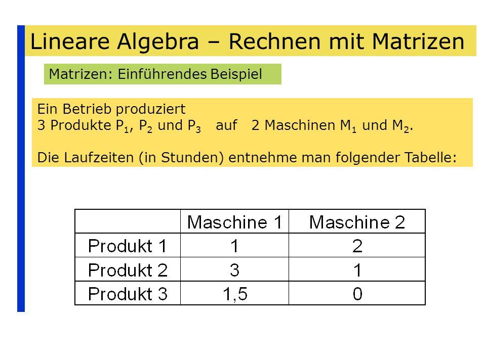 Lineare Algebra – Rechnen mit Matrizen Matrizen: Einführendes Beispiel Ein Betrieb produziert 3 Produkte P 1, P 2 und P 3 auf 2 Maschinen M 1 und M 2.
