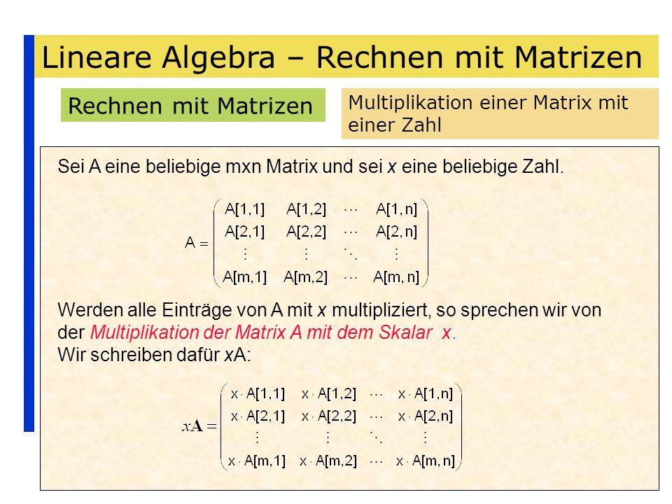 Lineare Algebra – Rechnen mit Matrizen Rechnen mit Matrizen Multiplikation einer Matrix mit einer Zahl Sei A eine beliebige mxn Matrix und sei x eine