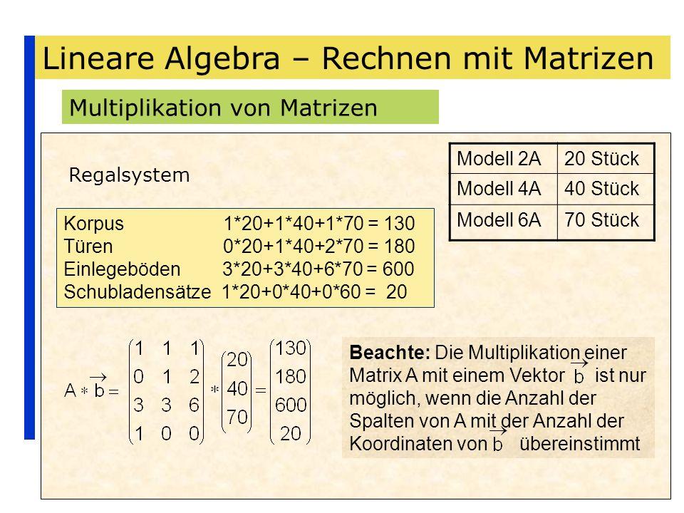 Lineare Algebra – Rechnen mit Matrizen Multiplikation von Matrizen Regalsystem Modell 2A20 Stück Modell 4A40 Stück Modell 6A70 Stück Korpus 1*20+1*40+