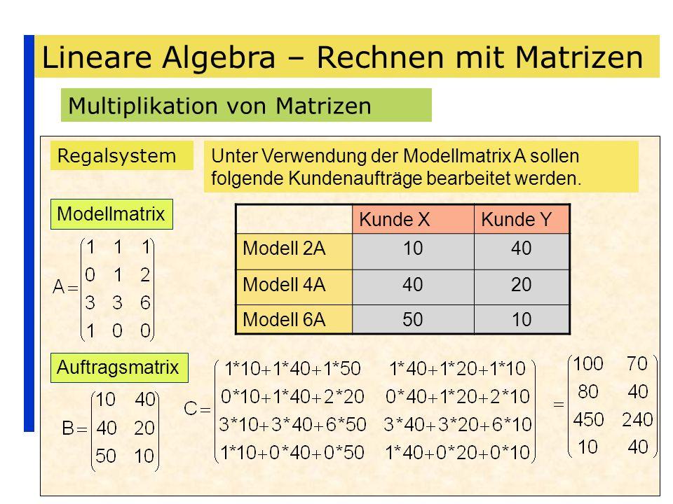 Lineare Algebra – Rechnen mit Matrizen Multiplikation von Matrizen Regalsystem Unter Verwendung der Modellmatrix A sollen folgende Kundenaufträge bear