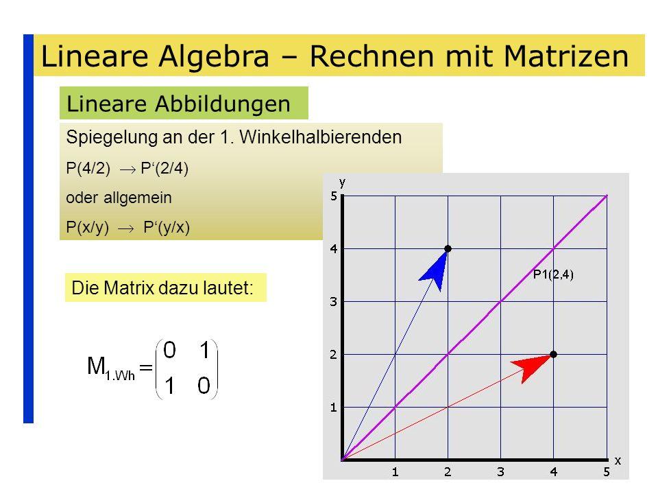 Lineare Algebra – Rechnen mit Matrizen Lineare Abbildungen Spiegelung an der 1. Winkelhalbierenden P(4/2) P(2/4) oder allgemein P(x/y) P(y/x) Die Matr