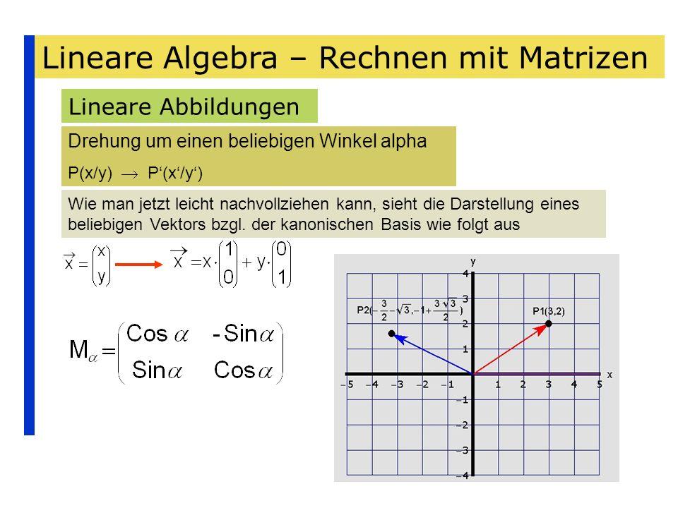 Lineare Algebra – Rechnen mit Matrizen Lineare Abbildungen Drehung um einen beliebigen Winkel alpha P(x/y) Wie man jetzt leicht nachvollziehen kann, s