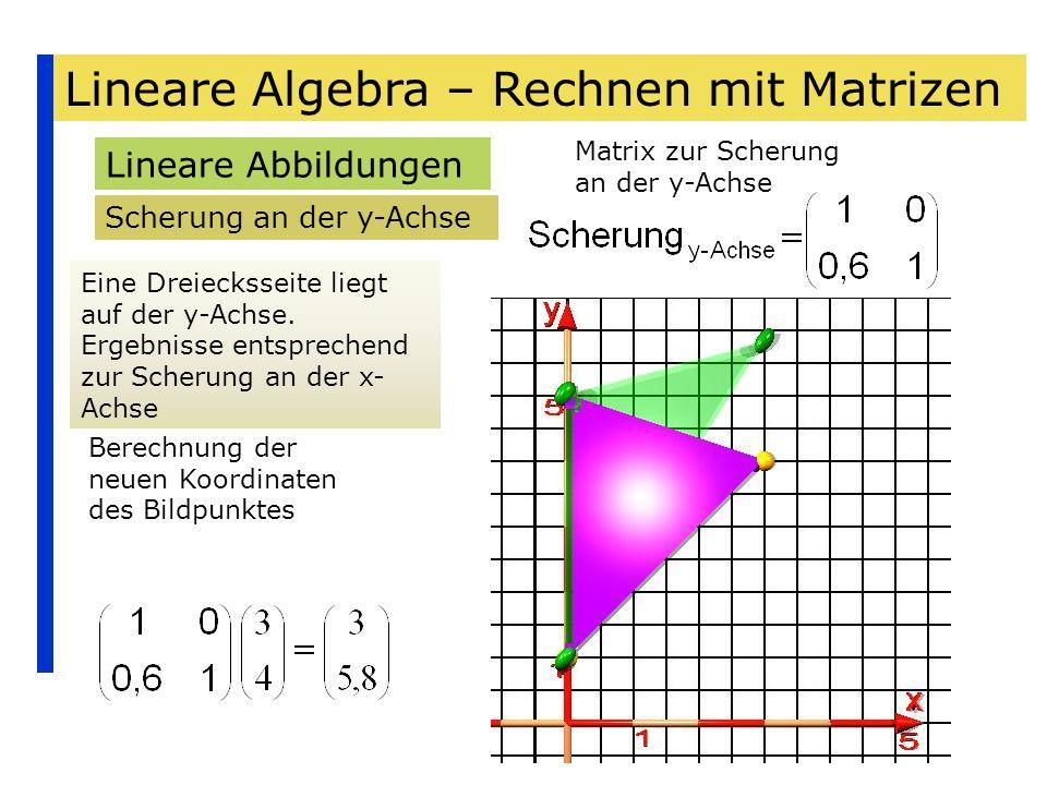 Lineare Algebra – Rechnen mit Matrizen Lineare Abbildungen Scherung an der y-Achse Eine Dreiecksseite liegt auf der y-Achse. Ergebnisse entsprechend z