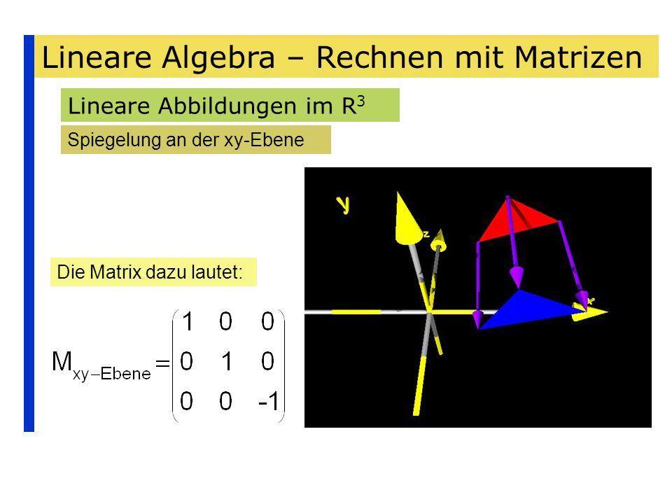 Lineare Algebra – Rechnen mit Matrizen Lineare Abbildungen im R 3 Spiegelung an der xy-Ebene Die Matrix dazu lautet: