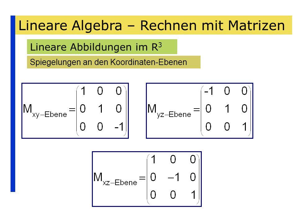 Lineare Algebra – Rechnen mit Matrizen Lineare Abbildungen im R 3 Spiegelungen an den Koordinaten-Ebenen
