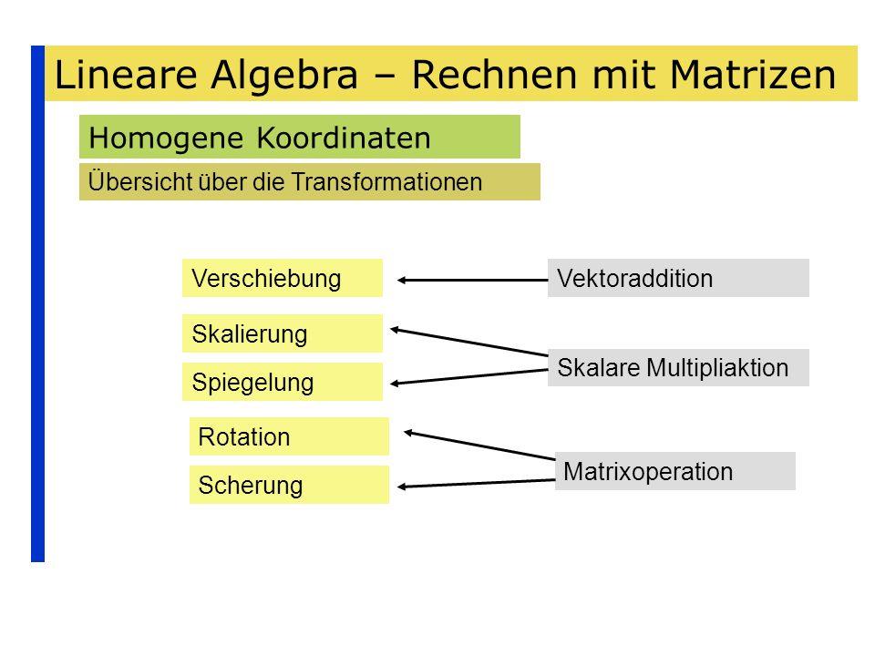 Lineare Algebra – Rechnen mit Matrizen Homogene Koordinaten Übersicht über die Transformationen Verschiebung Skalierung Spiegelung Rotation Scherung V