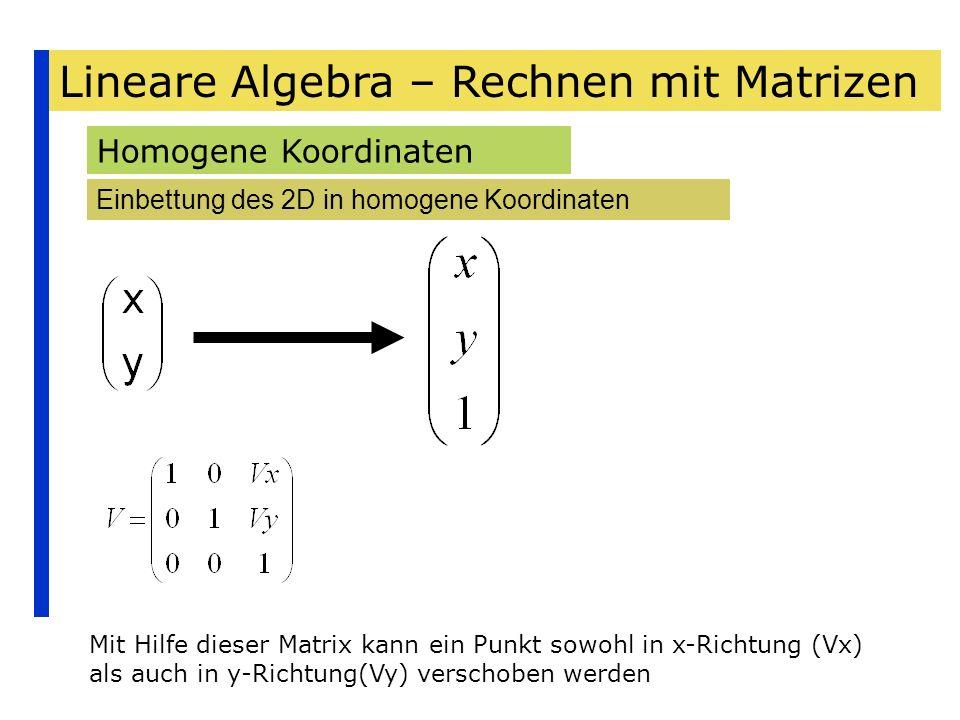 Lineare Algebra – Rechnen mit Matrizen Homogene Koordinaten Einbettung des 2D in homogene Koordinaten Mit Hilfe dieser Matrix kann ein Punkt sowohl in