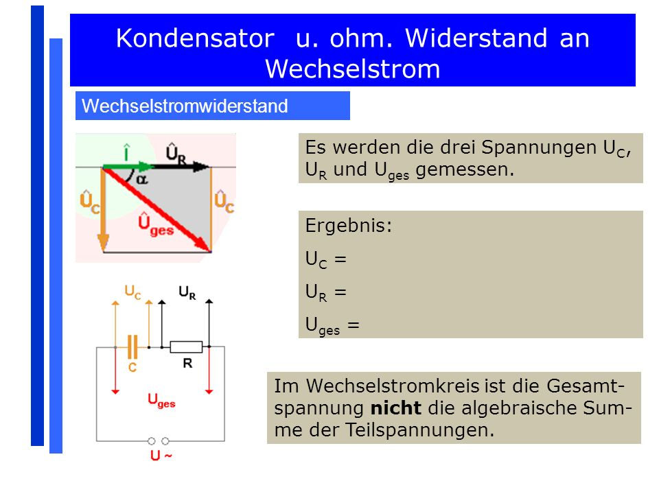 Kondensator u. ohm. Widerstand an Wechselstrom Wechselstromwiderstand Es werden die drei Spannungen U C, U R und U ges gemessen. Ergebnis: U C = U R =
