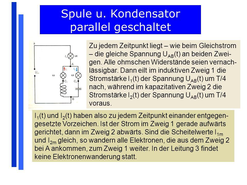 Zu jedem Zeitpunkt liegt – wie beim Gleichstrom – die gleiche Spannung U AB (t) an beiden Zwei- gen. Alle ohmschen Widerstände seien vernach- lässigba