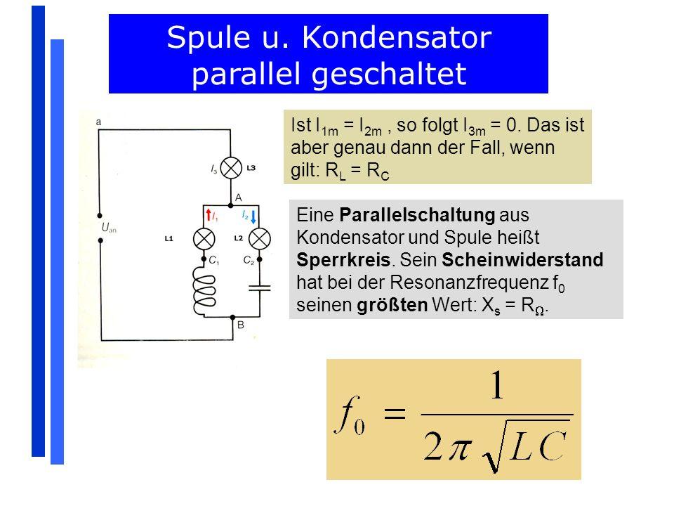 Ist I 1m = I 2m, so folgt I 3m = 0. Das ist aber genau dann der Fall, wenn gilt: R L = R C Spule u. Kondensator parallel geschaltet Eine Parallelschal