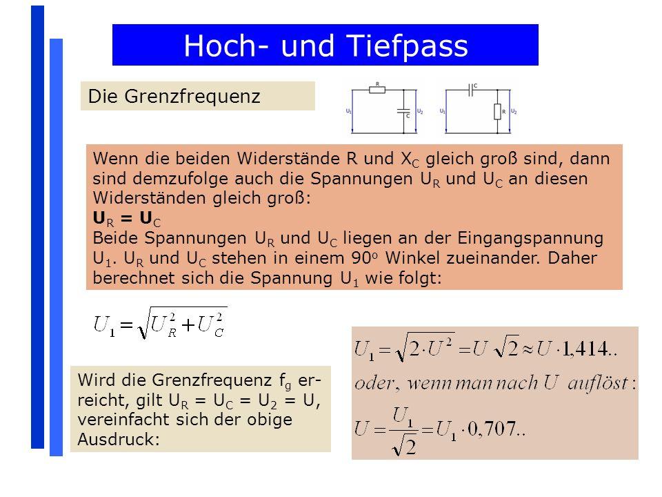 Hoch- und Tiefpass Die Grenzfrequenz Wenn die beiden Widerstände R und X C gleich groß sind, dann sind demzufolge auch die Spannungen U R und U C an d