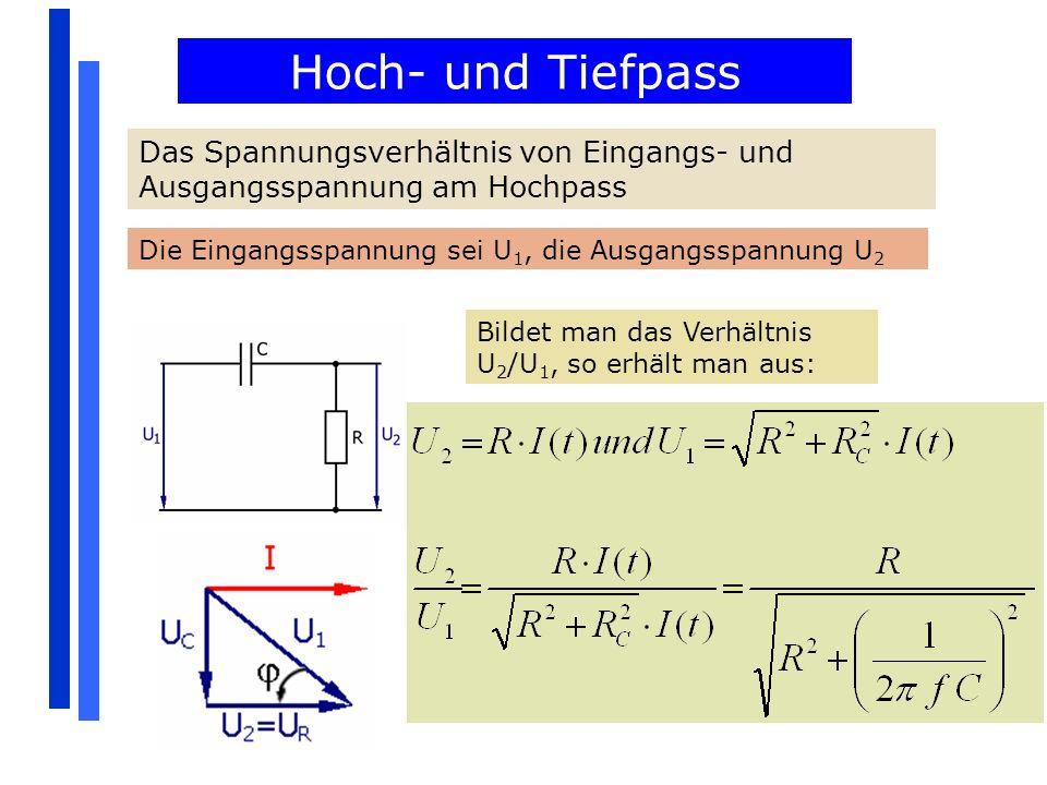 Hoch- und Tiefpass Das Spannungsverhältnis von Eingangs- und Ausgangsspannung am Hochpass Die Eingangsspannung sei U 1, die Ausgangsspannung U 2 Bilde