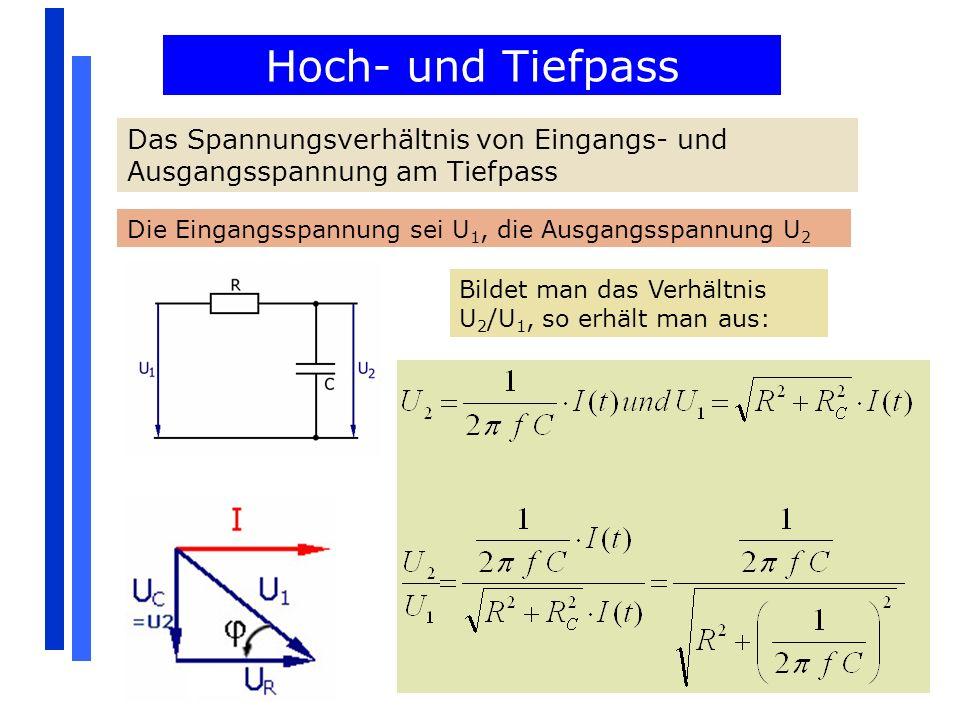Hoch- und Tiefpass Das Spannungsverhältnis von Eingangs- und Ausgangsspannung am Tiefpass Die Eingangsspannung sei U 1, die Ausgangsspannung U 2 Bilde