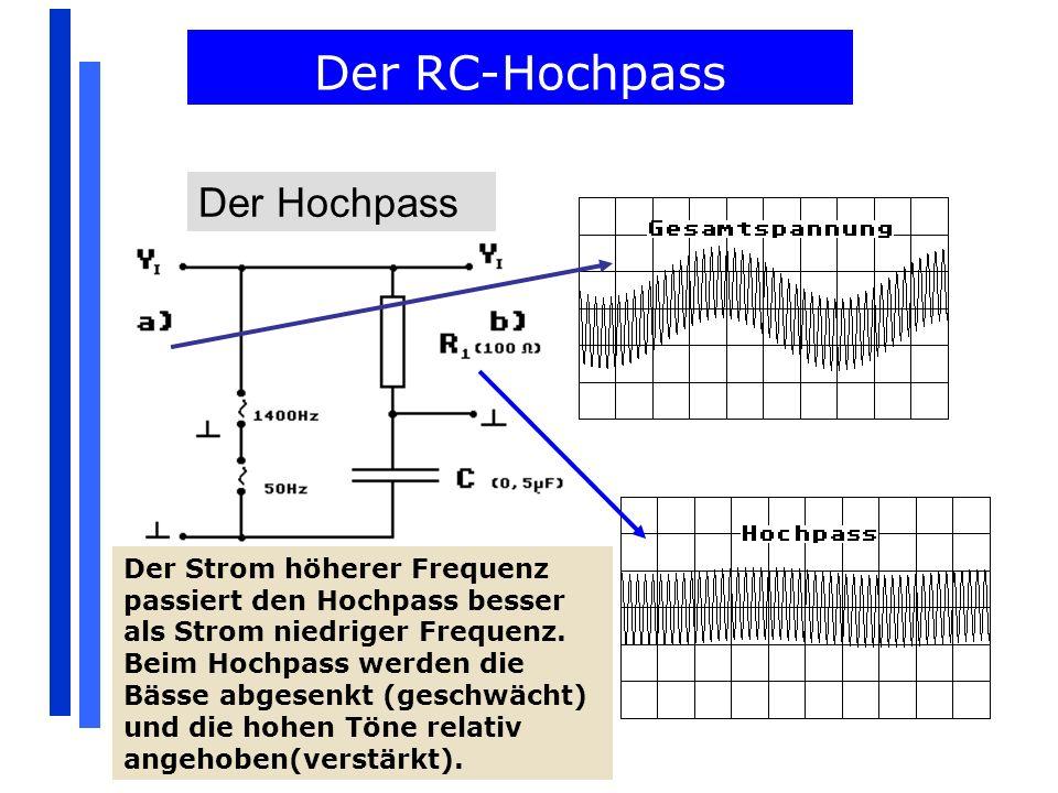 Der RC-Hochpass Der Hochpass Der Strom höherer Frequenz passiert den Hochpass besser als Strom niedriger Frequenz. Beim Hochpass werden die Bässe abge