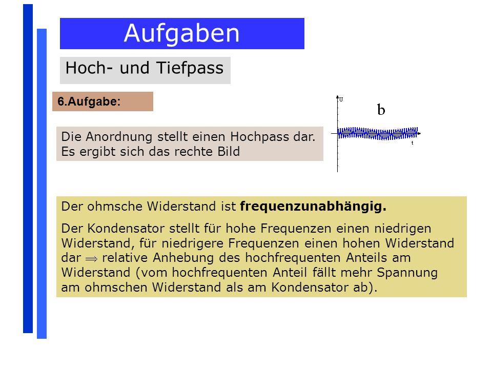 Aufgaben 6.Aufgabe: Hoch- und Tiefpass Die Anordnung stellt einen Hochpass dar. Es ergibt sich das rechte Bild Der ohmsche Widerstand ist frequenzunab