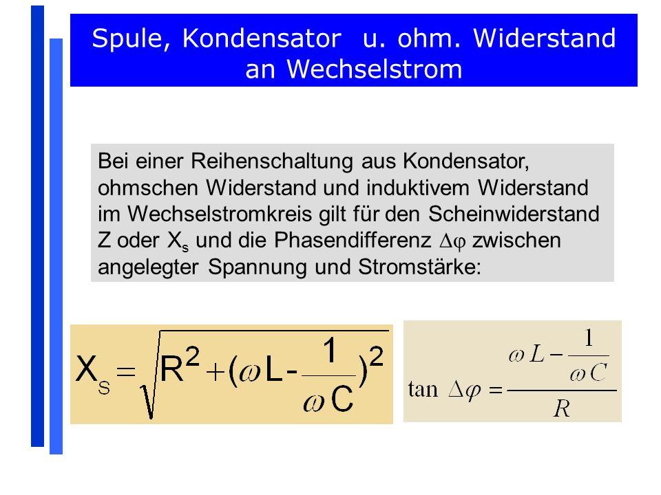 Aufgaben Wechselstromwiderstände 8.Aufgabe: Um die Abhängigkeit des kapazitativen Widerstan- des zu untersuchen, wurden folgenden Messungen durchgeführt: a) Bei U eff = 2,0 V und f = 100 Hz.