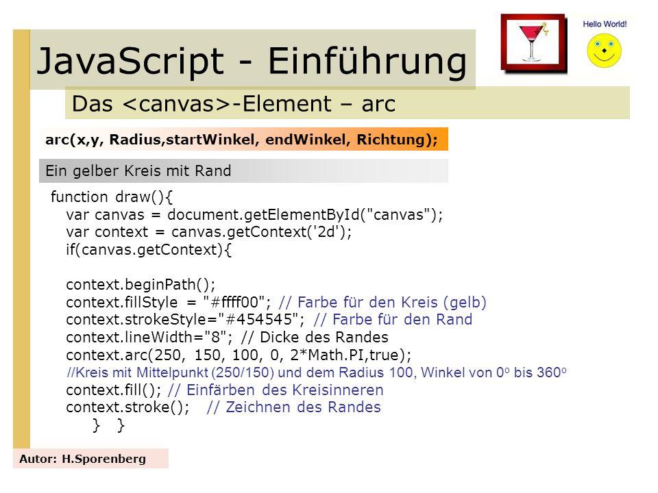 JavaScript - Einführung Das -Element – arc Autor: H.Sporenberg arc(x,y, Radius,startWinkel, endWinkel, Richtung); Ein gelber Kreis mit Rand function d