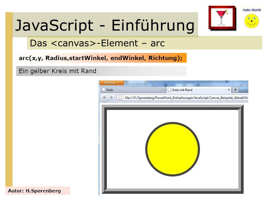 JavaScript - Einführung Das -Element – arc Autor: H.Sporenberg arc(x,y, Radius,startWinkel, endWinkel, Richtung); Ein gelber Kreis mit Rand