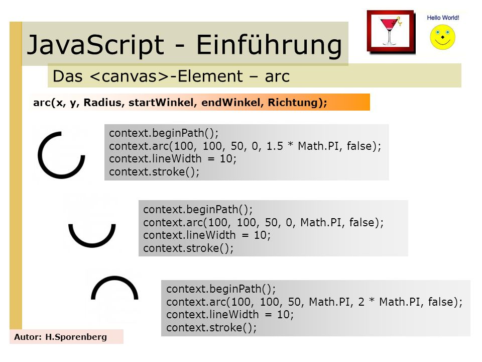 JavaScript - Einführung Das -Element – arc Autor: H.Sporenberg arc(x, y, Radius, startWinkel, endWinkel, Richtung); context.beginPath(); context.arc(1