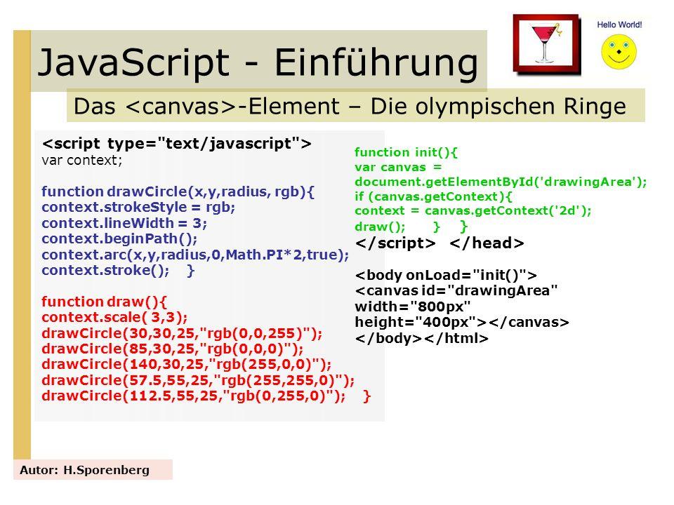JavaScript - Einführung Das -Element – Die olympischen Ringe Autor: H.Sporenberg var context; function drawCircle(x,y,radius, rgb){ context.strokeStyl