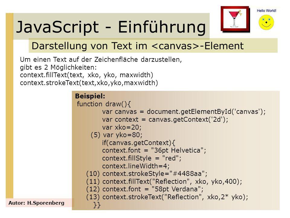 JavaScript - Einführung Darstellung von Text im -Element Autor: H.Sporenberg Um einen Text auf der Zeichenfläche darzustellen, gibt es 2 Möglichkeiten