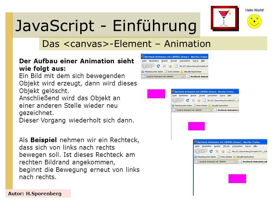 JavaScript - Einführung Das -Element – Animation Autor: H.Sporenberg Der Aufbau einer Animation sieht wie folgt aus: Ein Bild mit dem sich bewegenden