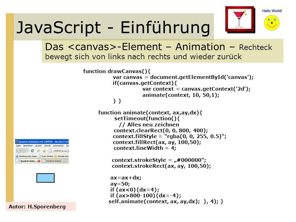 JavaScript - Einführung Das -Element – Animation – Rechteck bewegt sich von links nach rechts und wieder zurück Autor: H.Sporenberg function drawCanva