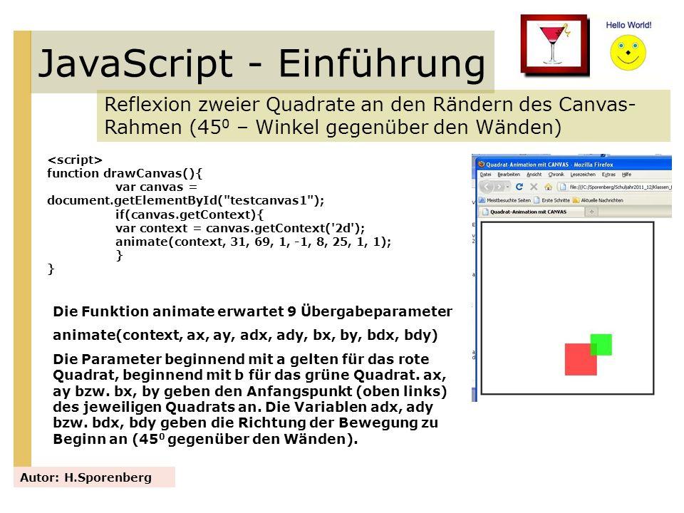 JavaScript - Einführung Reflexion zweier Quadrate an den Rändern des Canvas- Rahmen (45 0 – Winkel gegenüber den Wänden) Autor: H.Sporenberg function