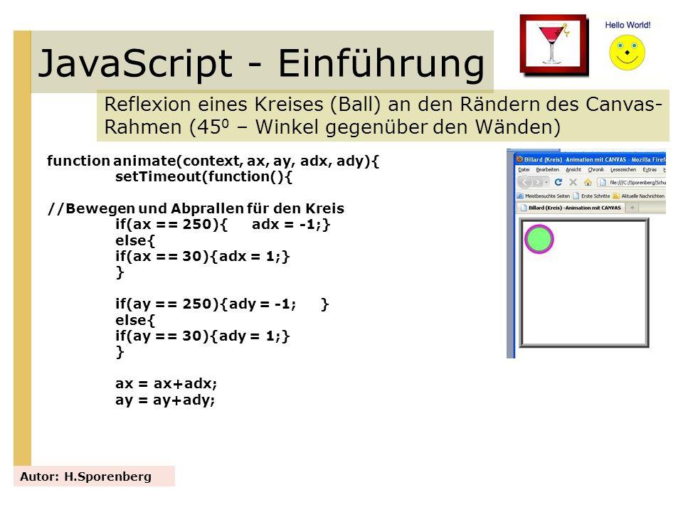 JavaScript - Einführung Reflexion eines Kreises (Ball) an den Rändern des Canvas- Rahmen (45 0 – Winkel gegenüber den Wänden) Autor: H.Sporenberg func