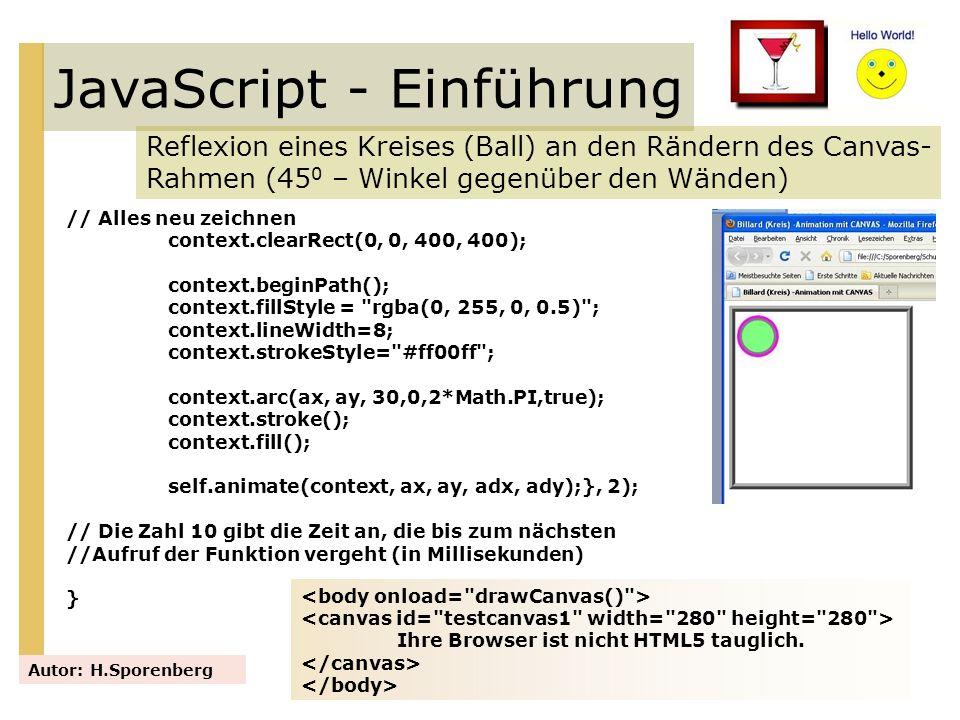 JavaScript - Einführung Reflexion eines Kreises (Ball) an den Rändern des Canvas- Rahmen (45 0 – Winkel gegenüber den Wänden) Autor: H.Sporenberg // A