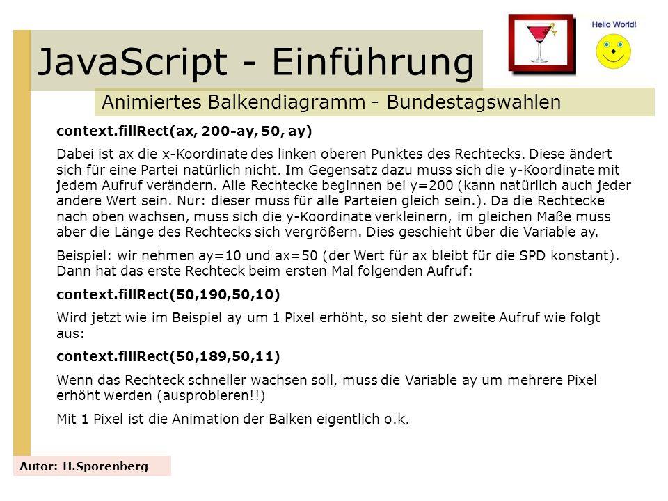 JavaScript - Einführung Animiertes Balkendiagramm - Bundestagswahlen Autor: H.Sporenberg context.fillRect(ax, 200-ay, 50, ay) Dabei ist ax die x-Koord
