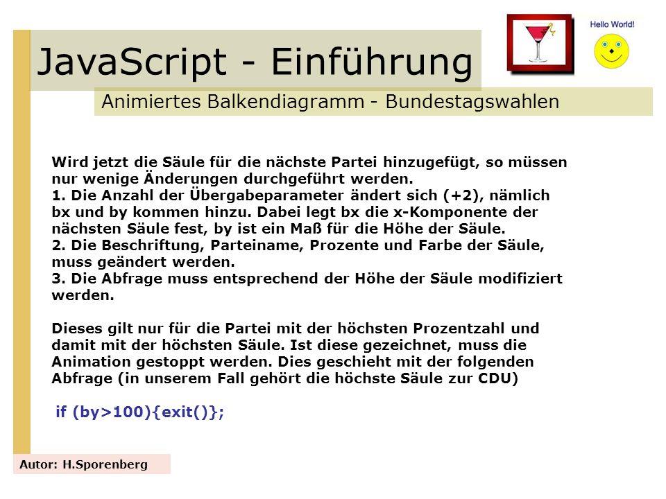 JavaScript - Einführung Animiertes Balkendiagramm - Bundestagswahlen Autor: H.Sporenberg Wird jetzt die Säule für die nächste Partei hinzugefügt, so m