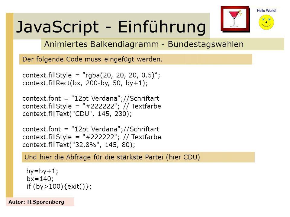 JavaScript - Einführung Animiertes Balkendiagramm - Bundestagswahlen Autor: H.Sporenberg Der folgende Code muss eingefügt werden. context.fillStyle =